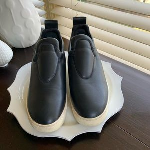 Celine black leather slip on platform sneakers